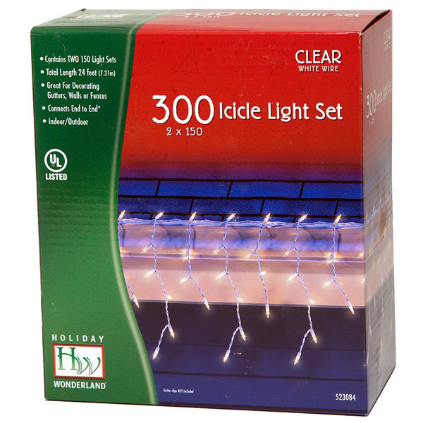 box of outdoor Christmas decorating icicle lights