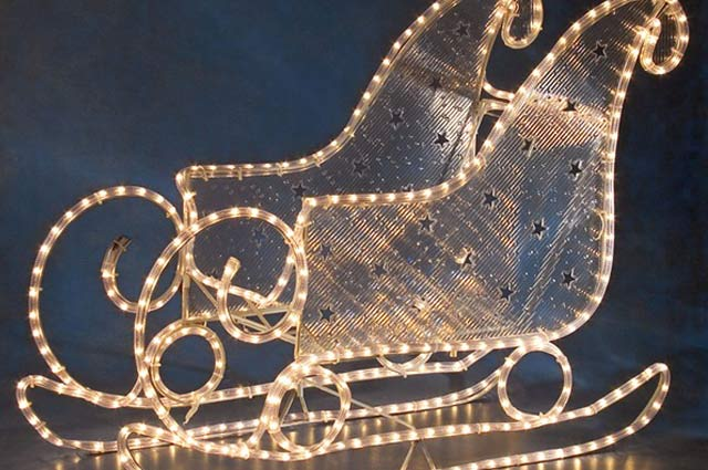 Lit Up Santa Sleigh Outdoor Decoration