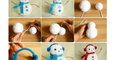 Pom-pom snowmen ornament crafts