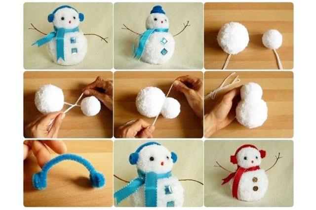 Pom-pom snowmen ornament crafts