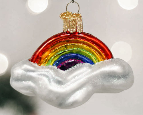 Old-world rainbow Christmas tree ornament