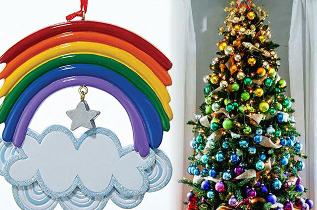 rainbow christmas ornaments gradient christmas tree