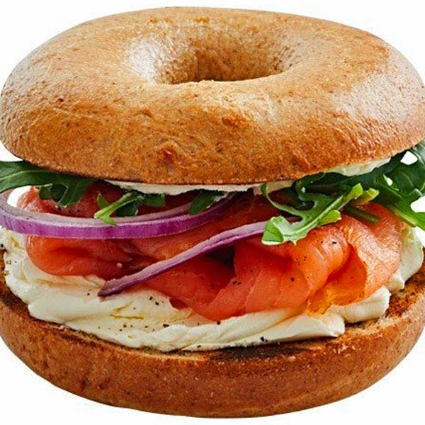 Salmon Cream Cheese Bagel Breakfast Snack Maintain Energy
