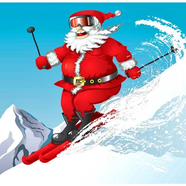 Santa Skiing 9 Months Til Christmas