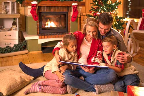 Family Things To Do at Christmas - Reading Laughing Fireplace Tree