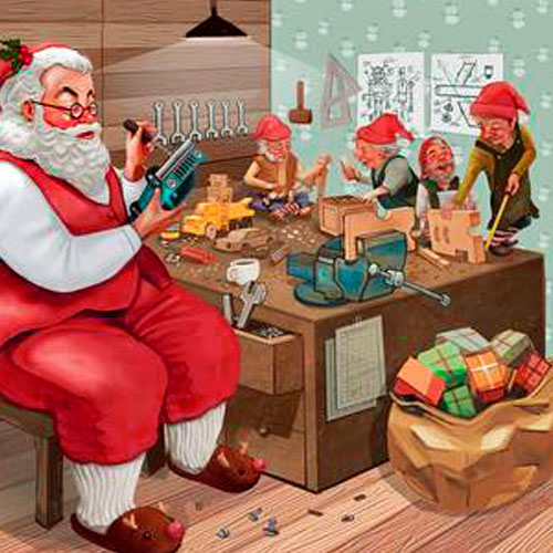 Three Months Til Christmas Santa Busy In Workshop